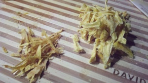 Dehydrated Cayenne Mango Matchsticks & Pineapple Triangles